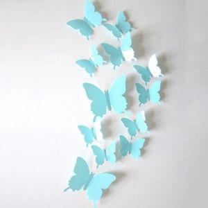 3D бабочки для декора 12 шт. голубые