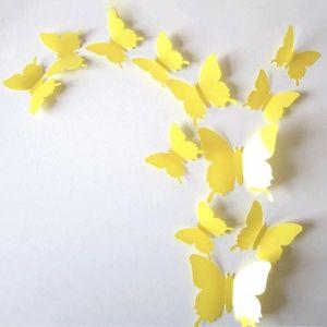 3D бабочки для декора 12 шт. жёлтые