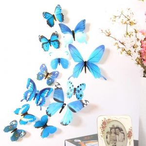 3D бабочки для декора 12 шт. синие