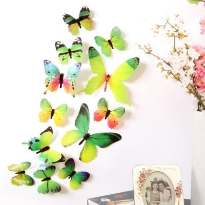 3D бабочки для декора 12 шт. зелёные