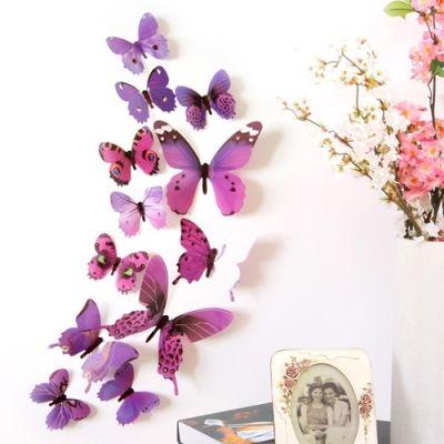 3D бабочки для декора 12 шт. фиолетовые