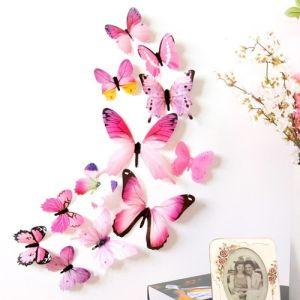 3D бабочки для декора 12 шт. розовые