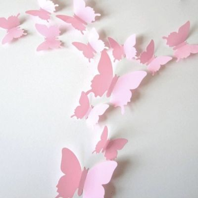 3D бабочки для декора 12 шт. Pink