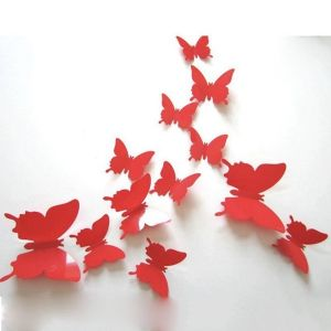 3D бабочки для декора 12 шт. красные