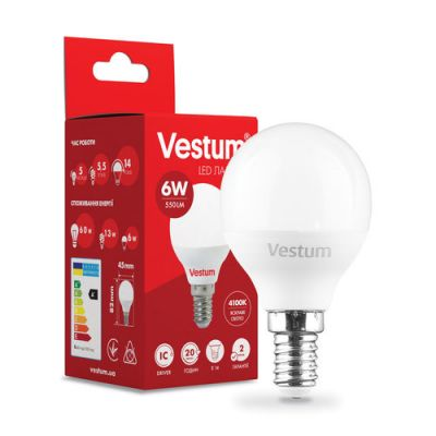 Лампа LED VESTUM G45 6W 4100K 220V E14