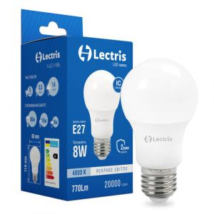 Лампа LED LECTRIS A60 8W 4000K 220V E27