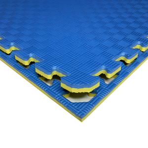 Коврик-пазл EVA SPORT 100х100х2.6 с бортиком (сине-жёлтый)