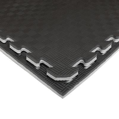Коврик-пазл EVA SPORT 100х100х2.6 с бортиком (чёрно-серый)