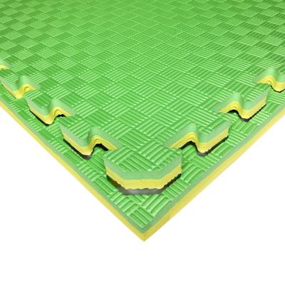 Коврик-пазл EVA SPORT 100х100х2.6 с бортиком (жёлто-зелёный)