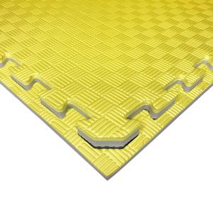 Коврик-пазл EVA SPORT 100х100х2.6 с бортиком (жёлто-серый)
