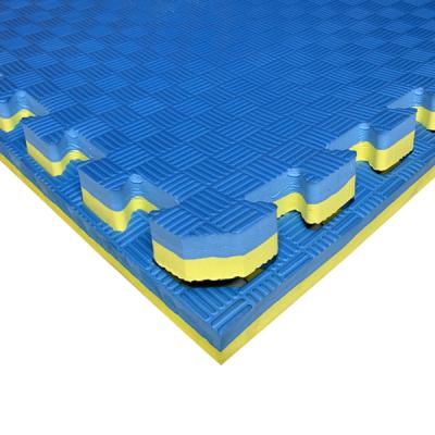 Коврик-пазл EVA SPORT 100х100х3 с бортиком (сине-жёлтый)