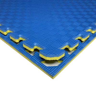 Коврик-пазл EVA SPORT 100х100х2 с бортиком (жёлто-синий)