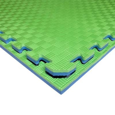 Коврик-пазл EVA SPORT 100х100х2 с бортиком (сине-зелёный)