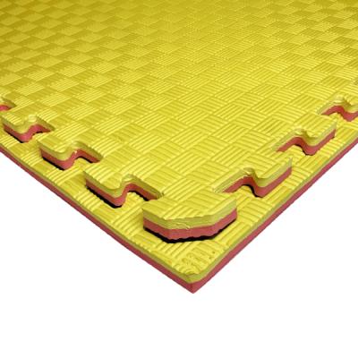 Коврик-пазл EVA SPORT 100х100х2 с бортиком (жёлто-красный)