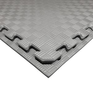 Коврик-пазл EVA SPORT 100х100х2 с бортиком (чёрно-серый)